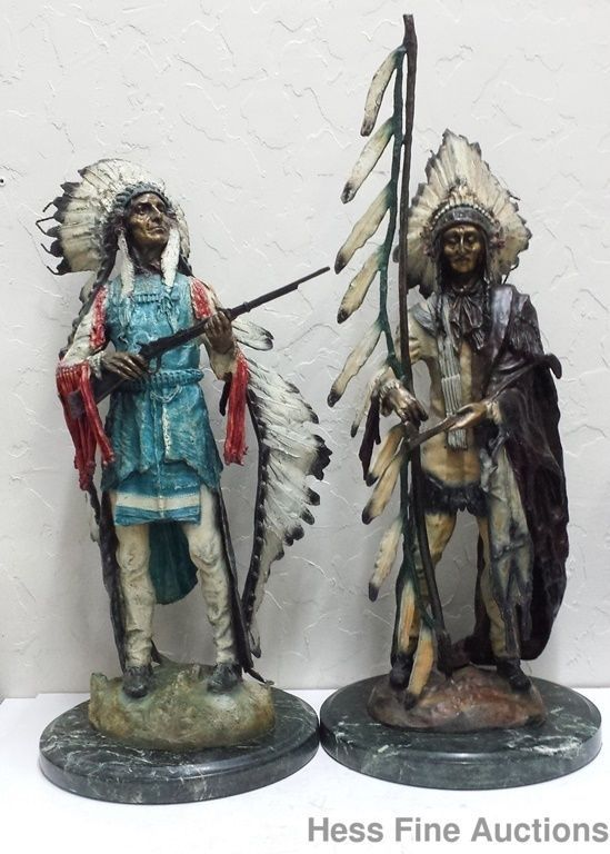 Native American Indian Chief Guns Carl Kauba War Peace Austrian American Bronze