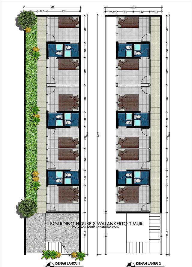 Rumah Kos Di Lahan Memanjang Desain Rumah Arsitektur Hotel Rumah Small guest house floor plan