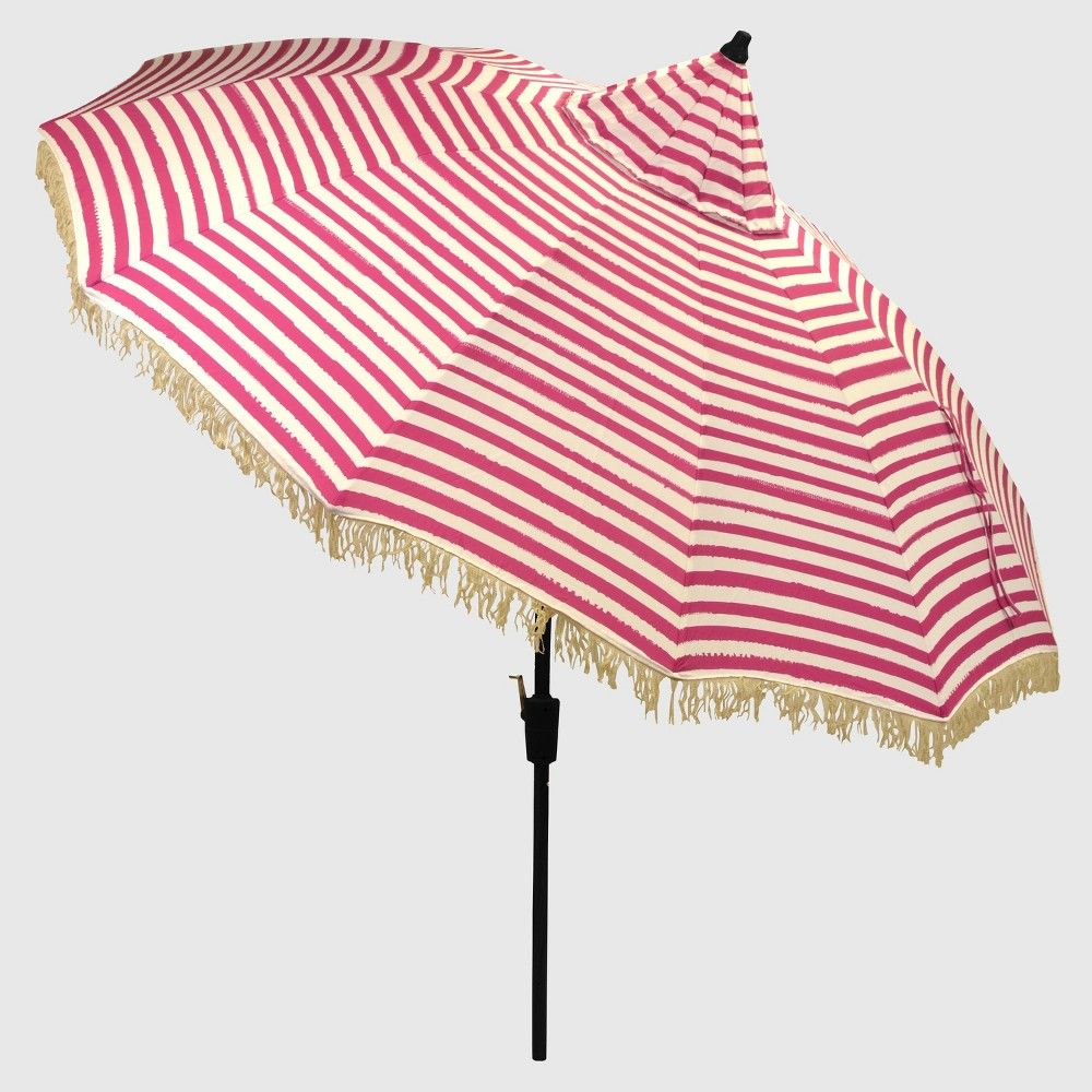 9' Party Floral Pagoda Patio Umbrella White Tassels- Light ...