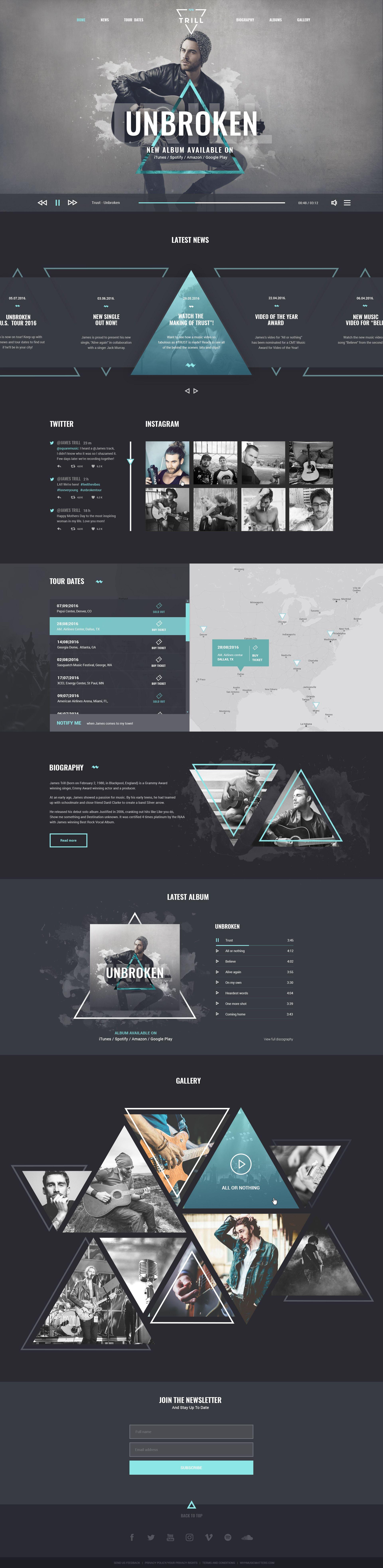 Trill Modern Psd Music Template For Bands Musicians Website Design Layout Web App Design Web Template Design