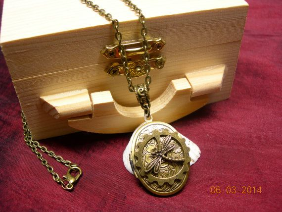 Steampunk Gear with Dragonfly Locket Necklace  by mythicaljewelry, $19.99