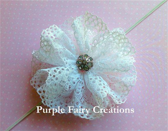 White Lace Flower Headband by PurpleFairyCreations on Etsy