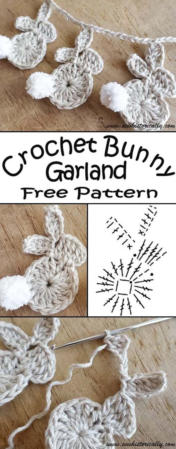 Crochet Easter Bunny Garland - Free Pattern - Sew Historically #freebabycrochetpatterns