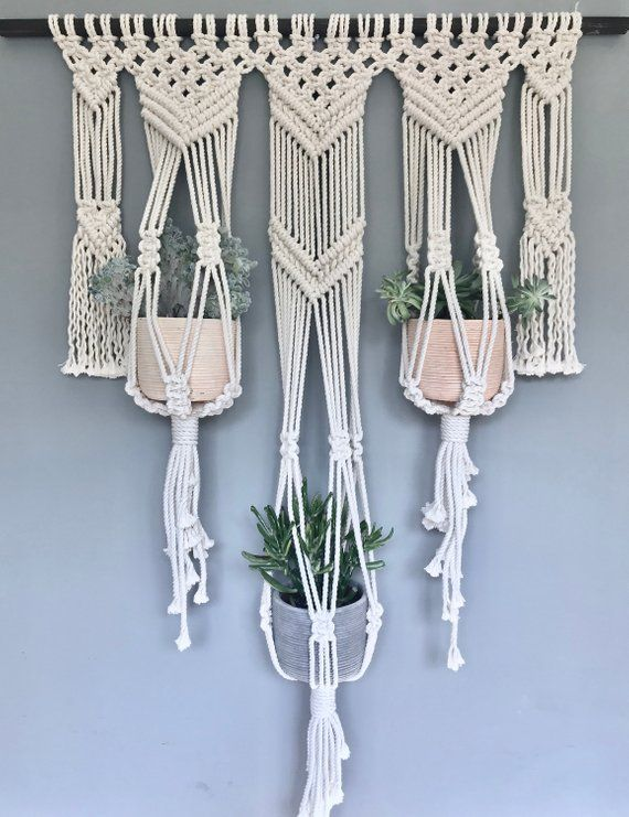 Photo of Handmade macrame triple plant hanger // macrame decor // boho decor // window treatment // macrame curtain