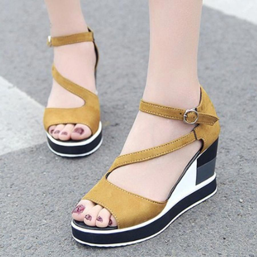 72a60c0a1133 Plain High Heeled Velvet Ankle Strap Peep Toe Date Outdoor Wedge Sandals- Berrylook  WedgeSandals