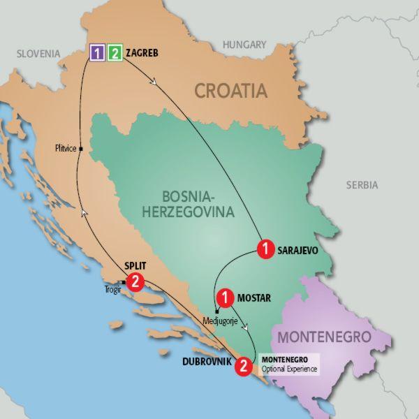 Croatia Route Croatia Bosnia And Herzegovina Bosnia