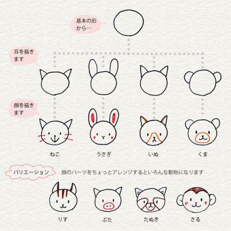 3 6 動物はかんたんな形から 4色ボールペンで かわいいイラスト描けるかな シンプルな線画 ボールペン イラスト 動物を描く