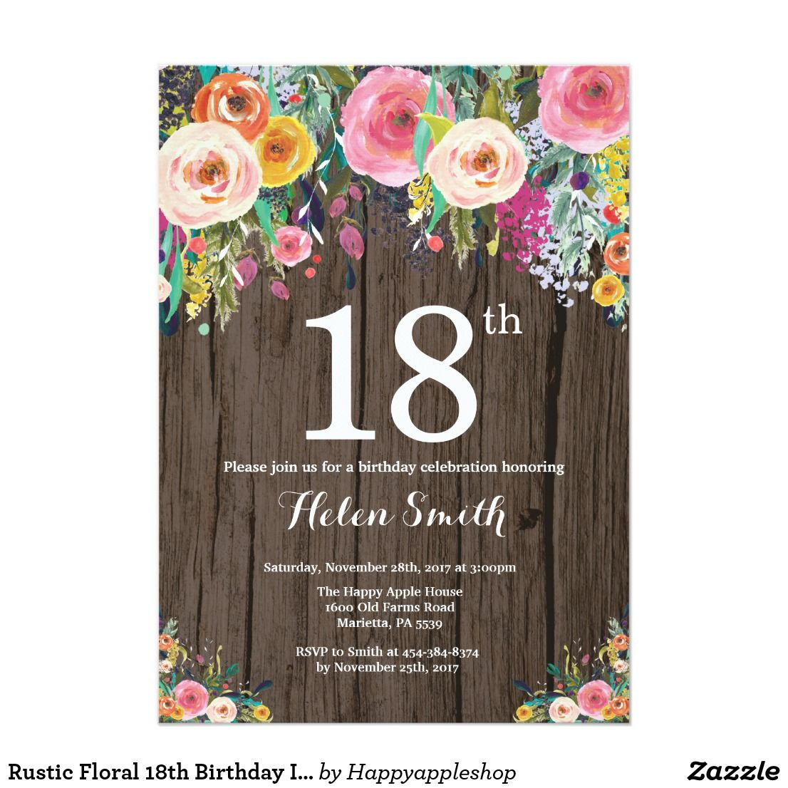 Rustic Floral 18th Birthday Invitation In 2018