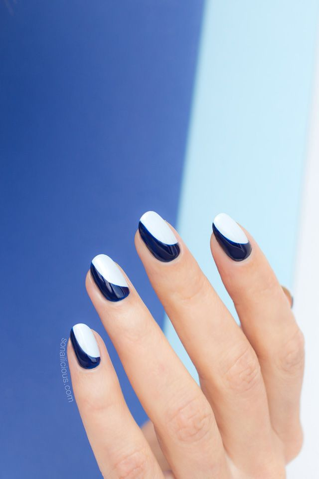 Sideways French Manicure. How-To Provided... | Blue french manicure ...