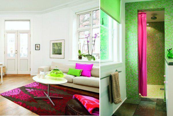 Interior complementary magenta yellowgreen example of - Color wheel interior design ...