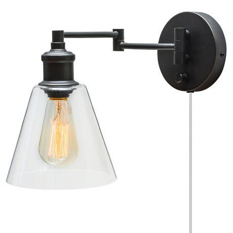Leclair 1 Light Plug In Or Hardwire Industrial Wall Sconce Dark