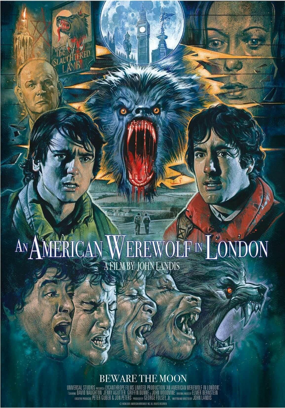 fantastic artwork of the horror classic film an american werewolf in