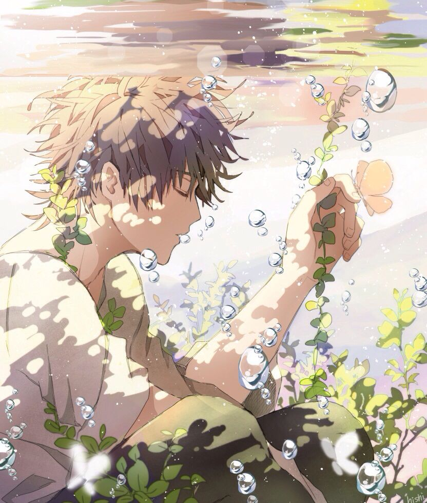 Anime Guy Underwater Closing His Eyes Ilustracoes Anime Arte Anime