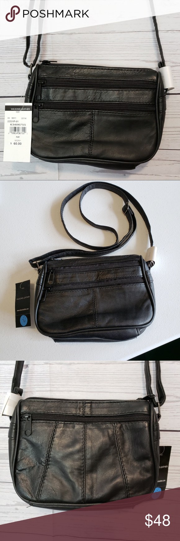 Wilsons Leather Black Crossbody Bag 3 in 1 Set NWT Cute