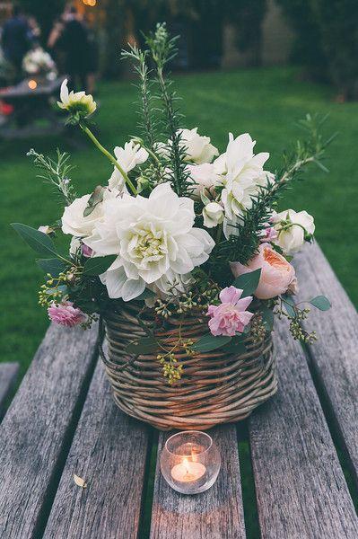 Pretty basket arrangement - white dahlias, david austin roses and cecile brunner roses www.floreatfloral.com.au