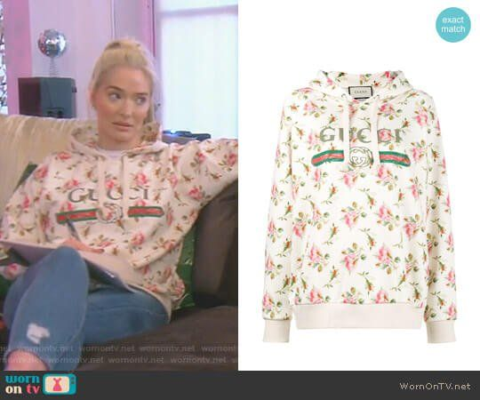 19b2b49005e Erika s white floral Gucci hoodie on The Real Housewives of Beverly Hills.  Outfit Details