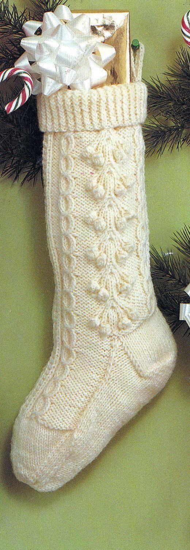 Knitted Christmas Fisherman Stocking Vintage Pdf Pattern Winter