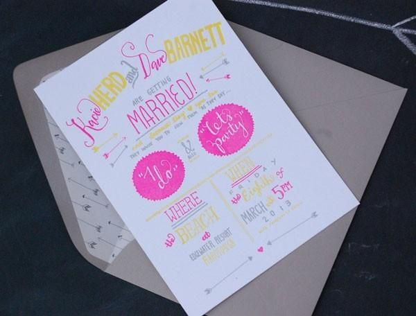 yellow and pink neon invitations @myweddingdotcom