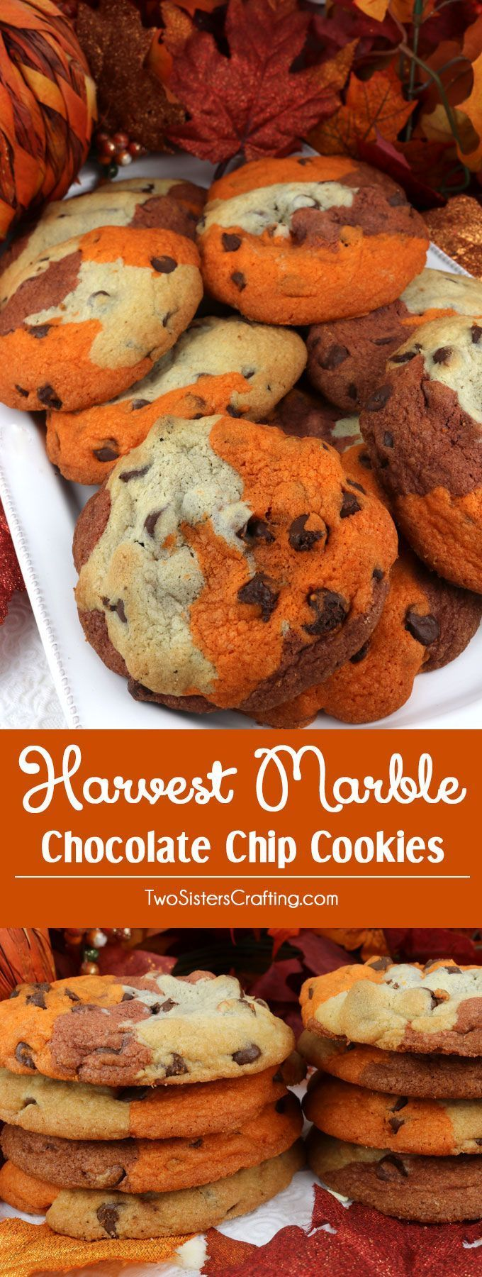 Marble Chocolate Chip Cookies Harvest Marble Chocolate Chip Cookies - a classic cookie all dressed up for Fall and Thanksgiving.  This unique and tasty Thanksgiving cookie would be great Thanksgiving dessert idea for a potluck dinner, a fall bake sale or a Christmas Cookie exchange. Pin this delicious marble cookie recipe for later and follow us fo