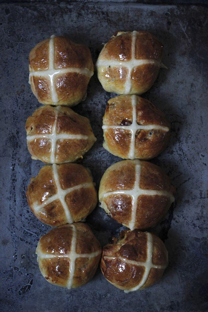 hot cross buns with saffron, cardamom, mahlabi