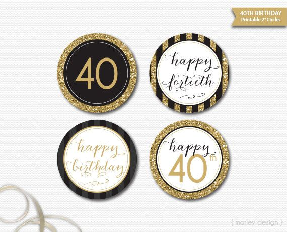 40th Birthday Toppers Black Gold Glitter Decor Printable Party Bir