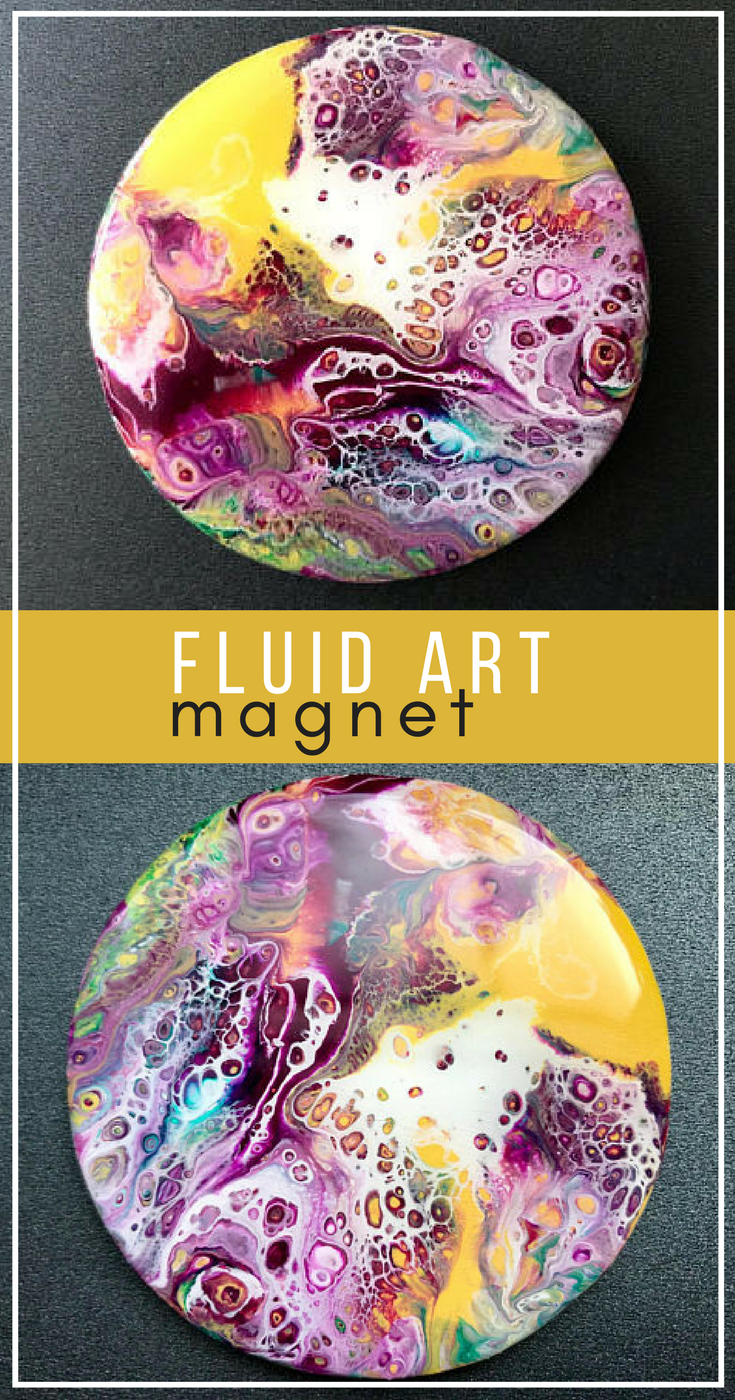 Mini Psychedelic Planet Painting Magnet - Abstract Acrylic Pour ...