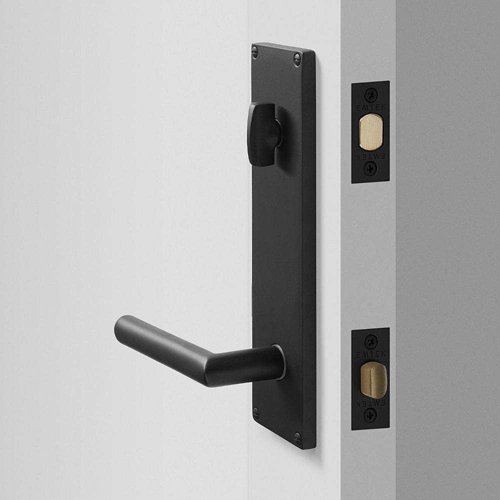 Tate Door Set With Otto Lever Flat Black Exterior Door