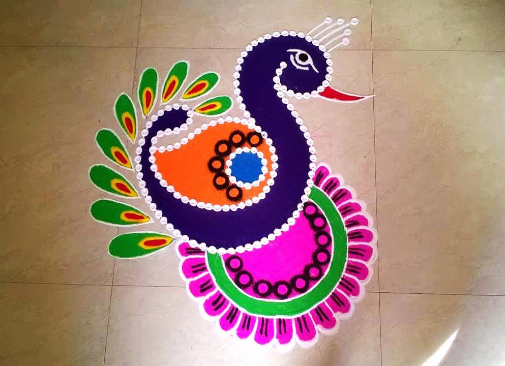 Easy Peacock Rangoli Image For Diwali Decoration # ...