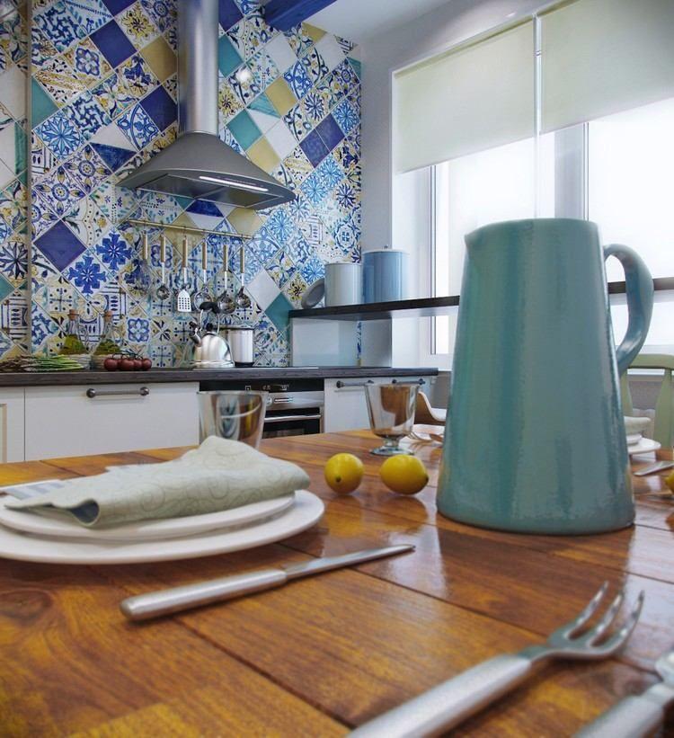 Ideedecocuisinestylemediterraneencarrelagemuralcarreaux - Carrelage turquoise pour idees de deco de cuisine