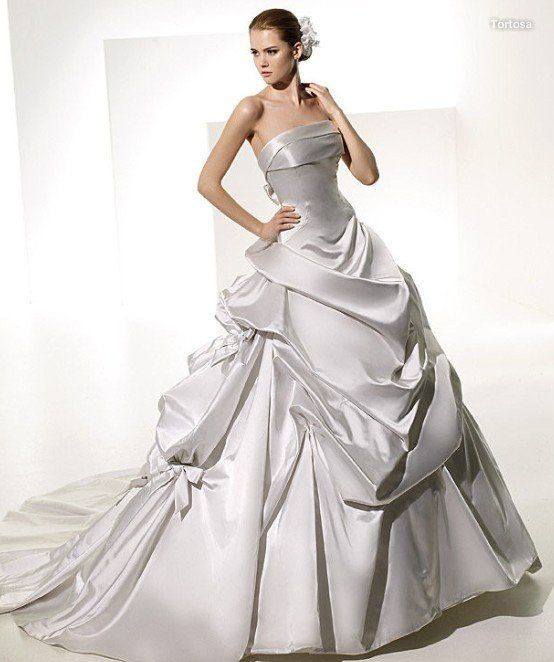 A Line Strapless Satin Cathedral Train Ruched Elegant Wedding Dresses
