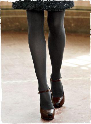 My Favorite Work Look Dark Tights High Heeled Mary Janes
