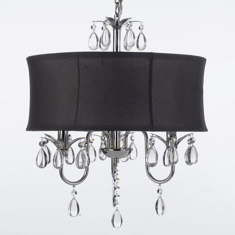 Set Of Modern Contemporary Black Drum Shade Crystal Ceiling Chandelier Pendant Lightning Fixture