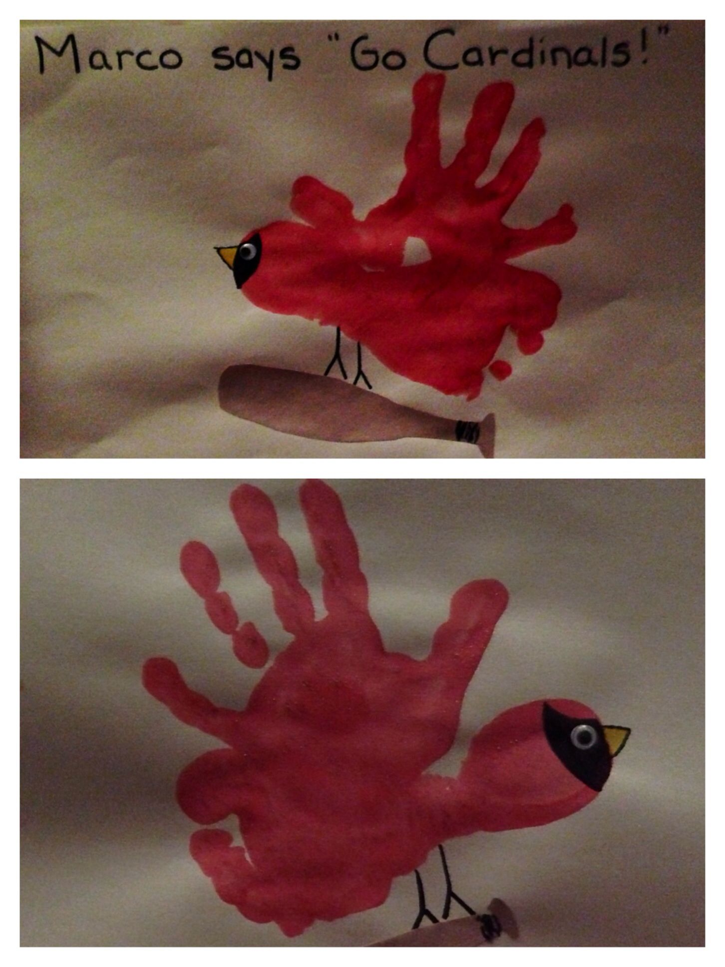 Get ready for Cardinals Opening Day with this cute preschool art project! Simple to do with hand+foot prints, black marker, construction paper, and paint! #mlb #stlcardinals #baseball #cardinals #preschool