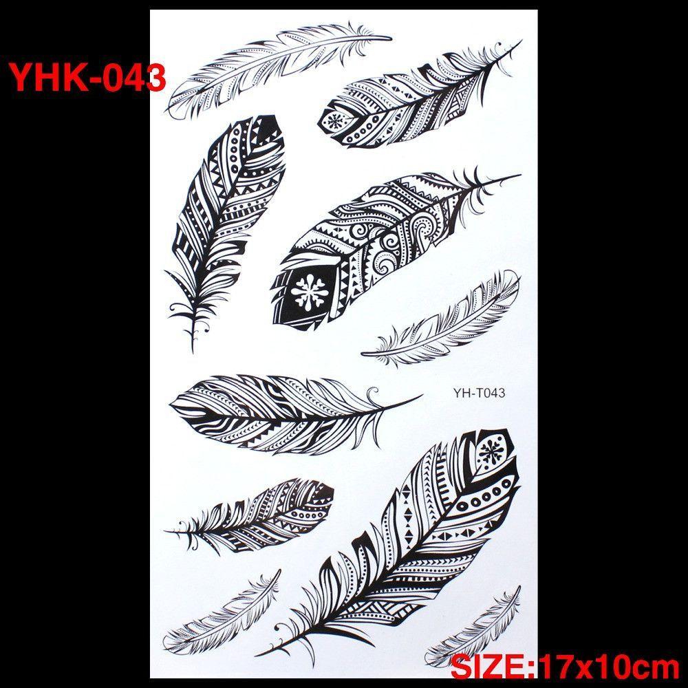 208126a38c90c Body Art Water Transfer Flash Fake Tattoo Sticker Temporary Tattoo Sticker  Blue Black The Wind Blown Feathers Taty Tatoo