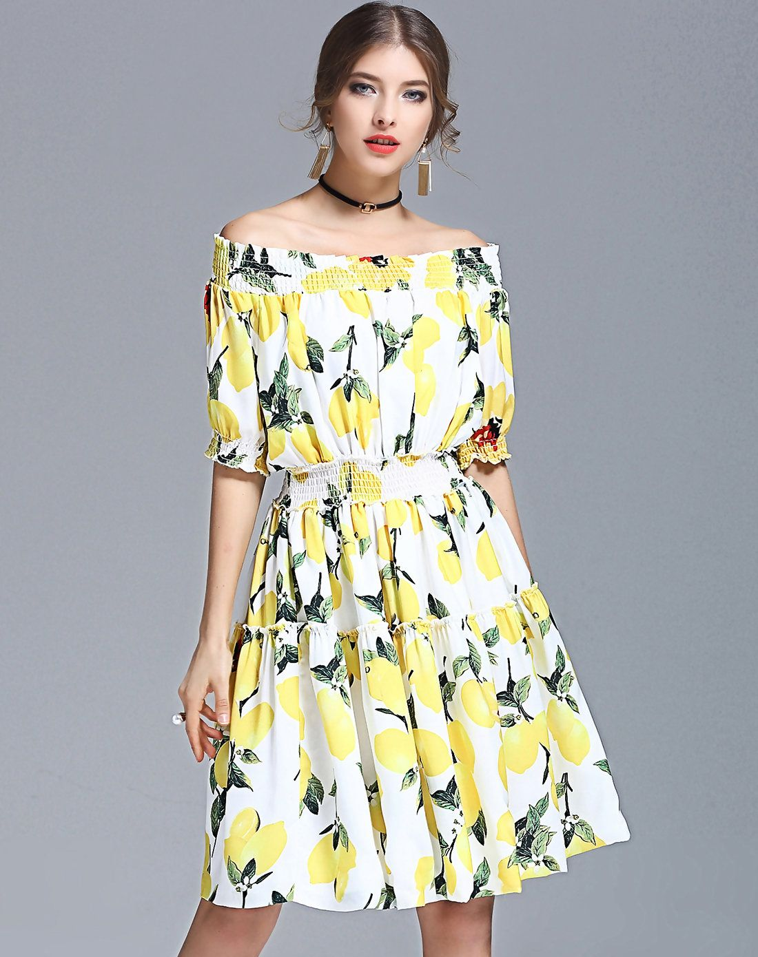 3d61d6f1ed78  VIPme ❀ Yellow Off Shoulder Short Sleeve Floral Printed Midi Dress.  VIPme.com offers quality Yellow