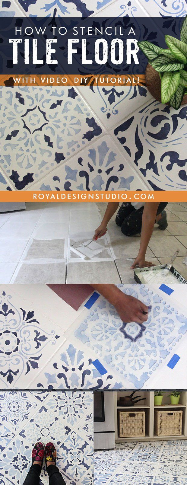 How to stencil a tile floor in 10 steps kitchen bathroom floor this could be how i solve the tile problem in downstairs bathroom add more tile and paint all of it how to stencil a tile floor in 10 steps painting dailygadgetfo Gallery