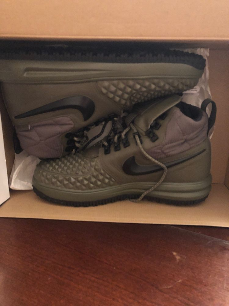 regarder 93d61 6c85e Nike LF1 Duckboot 17 Medium Olive Green Air Force One 916682 ...