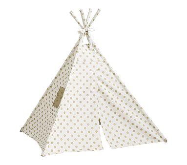 Gold Metallic Dot Mini Teepee Kids Teepee Tent Play