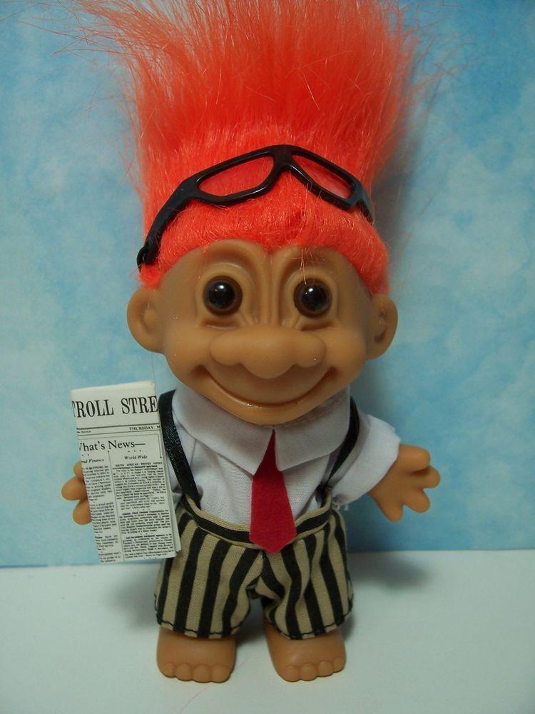 """WALL STREET / STOCKBROKER - 5"""" Russ Troll Doll - NEW IN ORIGINAL WRAPPER"""