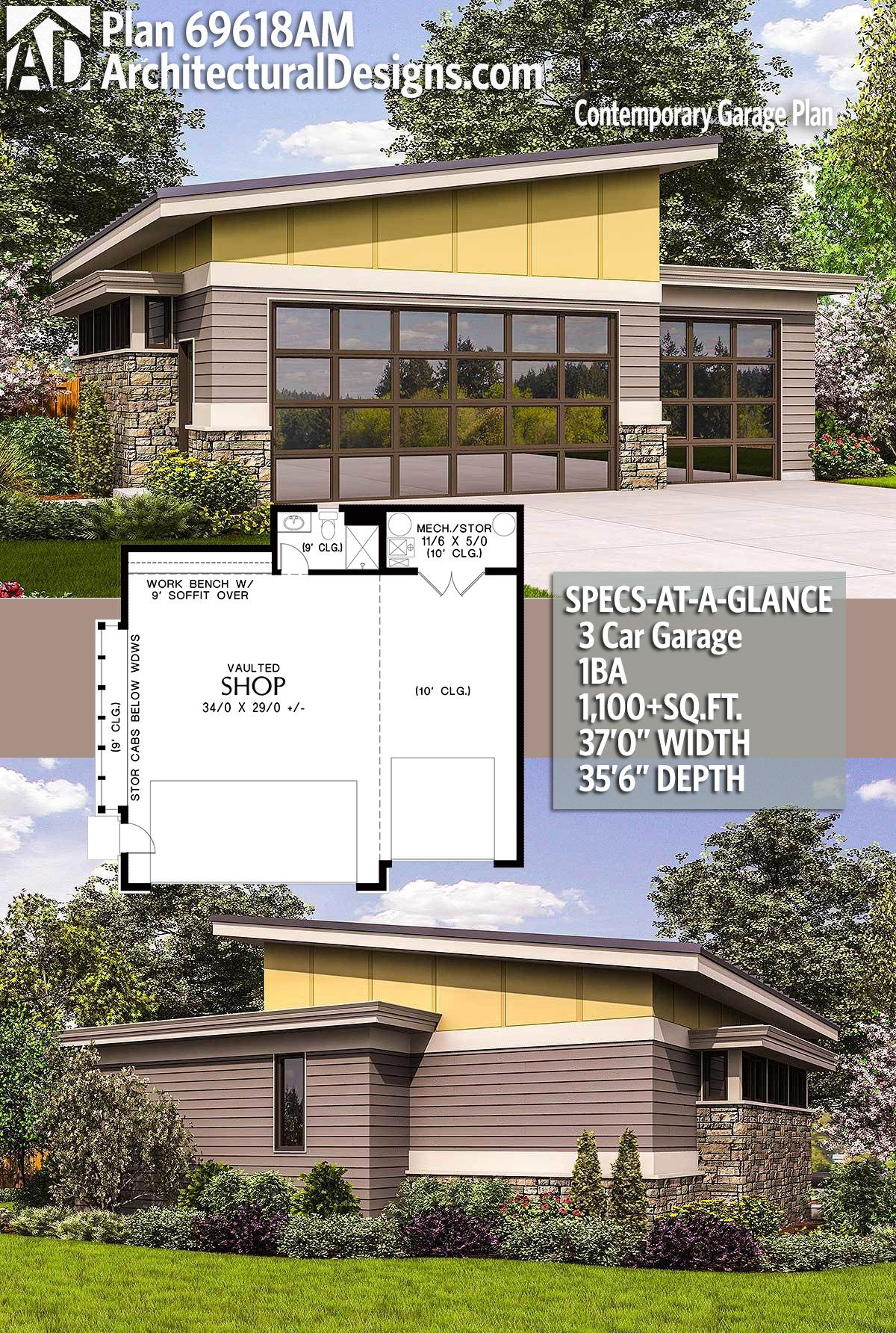 69618am adhouseplans architecturaldesigns houseplan architecture newhome newconstruction garage detachedgarage 3cargarage carriagehouse modern