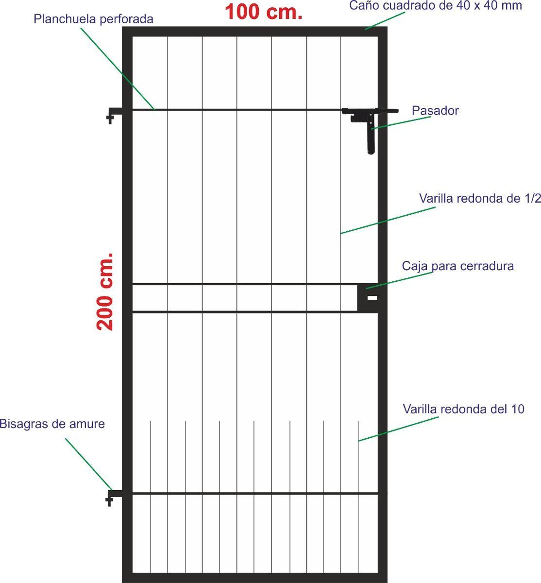 Puerta de rejas de hierro en mercadolibre for Verjas para puertas