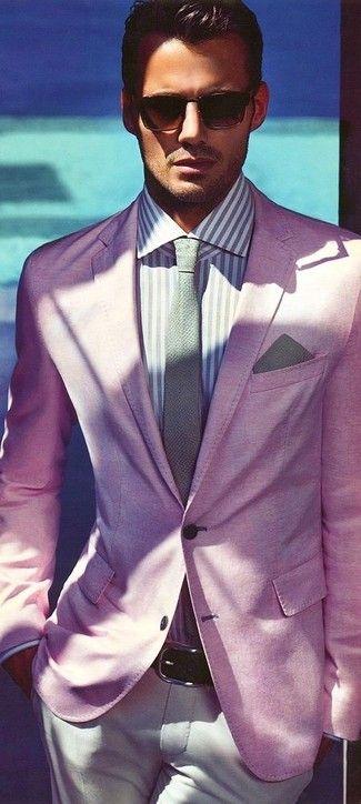 Men's Dark Brown Sunglasses, Light Violet Vertical Striped Dress Shirt, Grey Tie, Grey Pocket Square, Pink Blazer, Dark Brown Leather Belt, and Beige Chinos