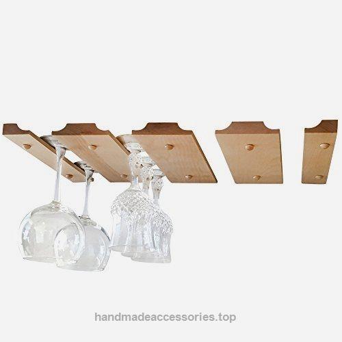 Smitco Llc Hanging Wine Gl Rack Wooden Holder For Stemware Storage Under Cabinet Counter