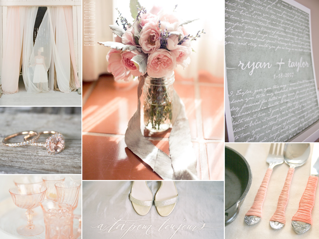 blush, gray and a splash of champagne