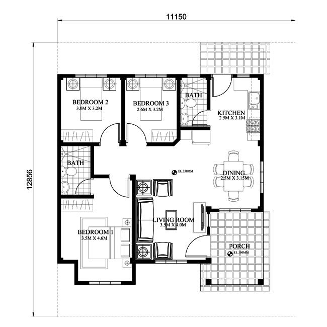 php 2015022 is a 3 bedroom 2 toilet and bath small efficient house plan