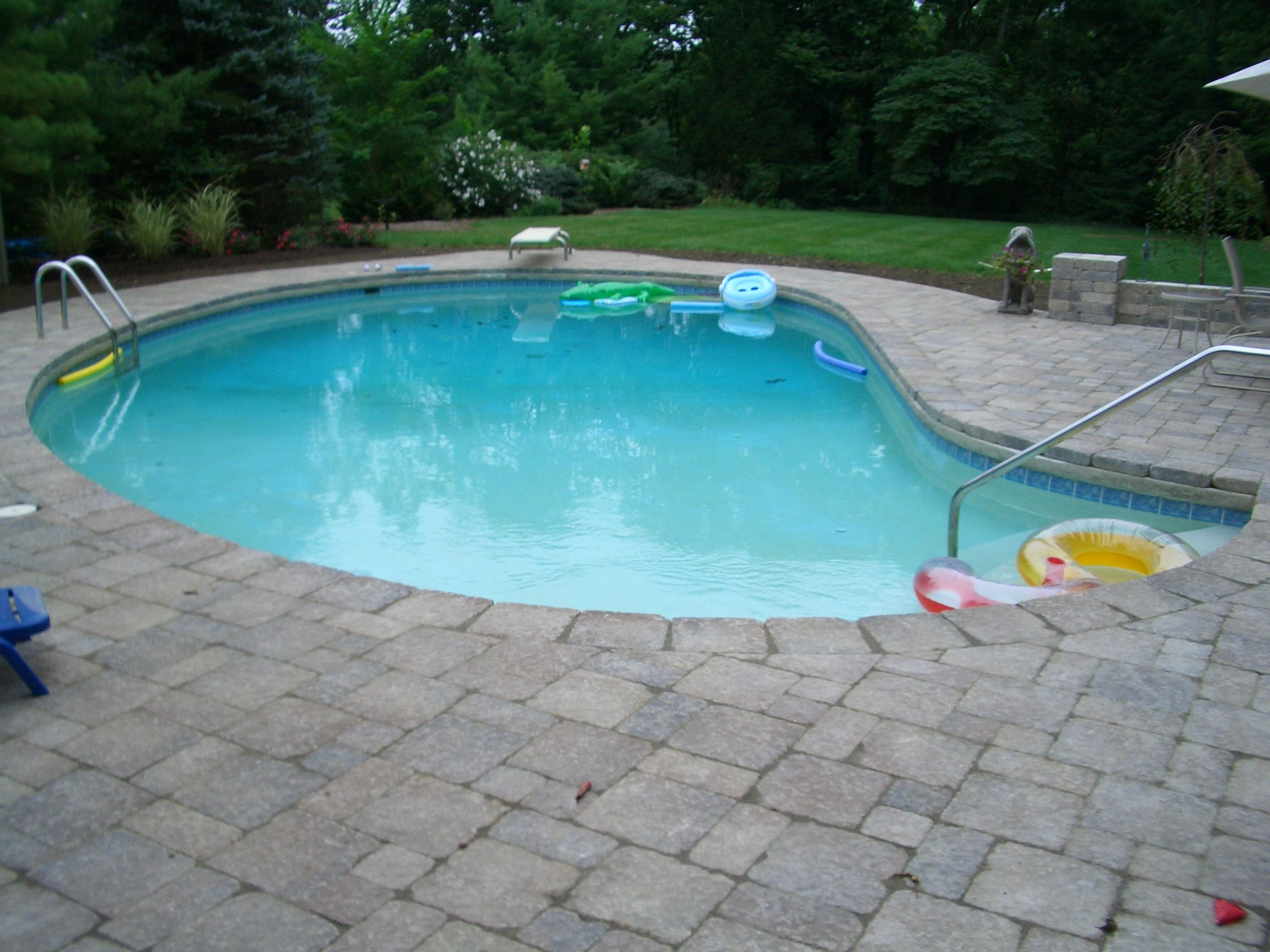 Beau Gray Paver Pool Patio. Walk In Pool