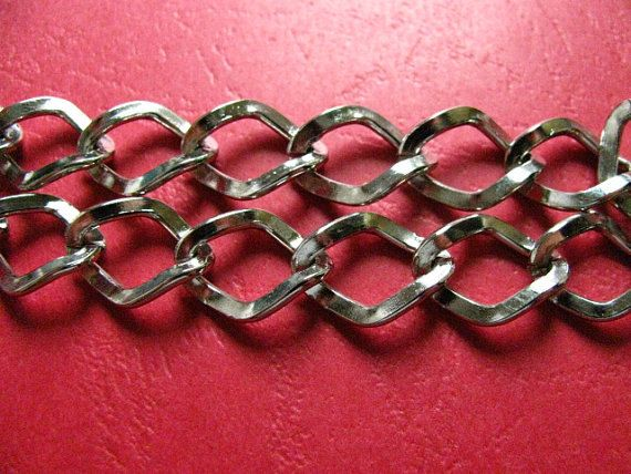 3.28 Feet 1 meter  17x13 mm Silver Tone Twisted http://etsy.me/1NrRjEH #jewelry #ring #mount #brass #gem #bezel #setting #bead #chain