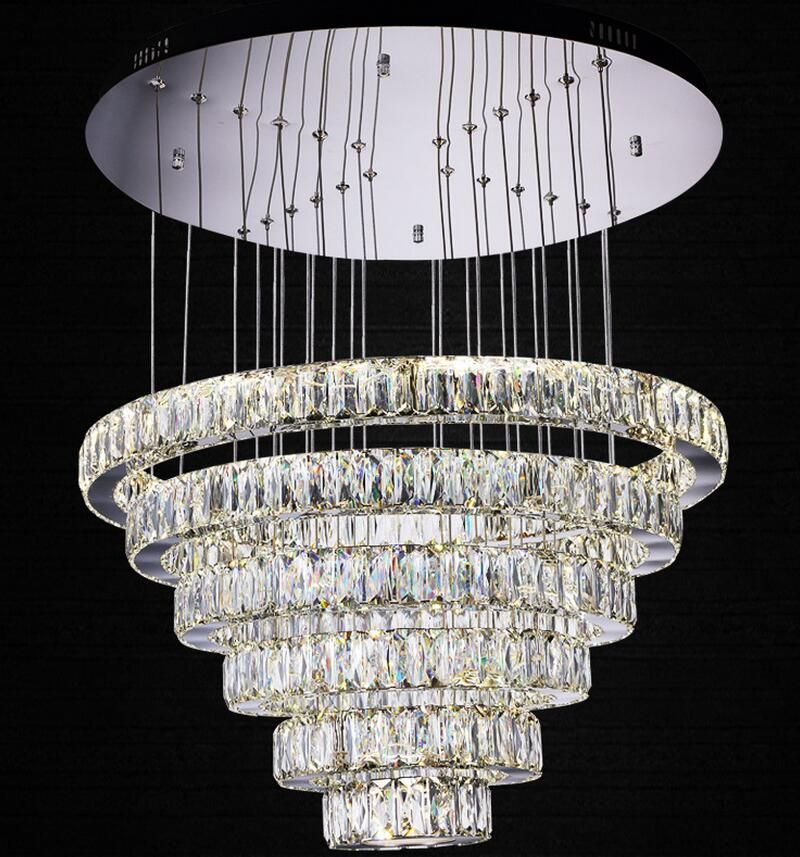 Find More Chandeliers Information About Crystal Chandelier Modern Three Colors With Remote Control C Hanging Lamp Round Pendant Light Modern Crystal Chandelier