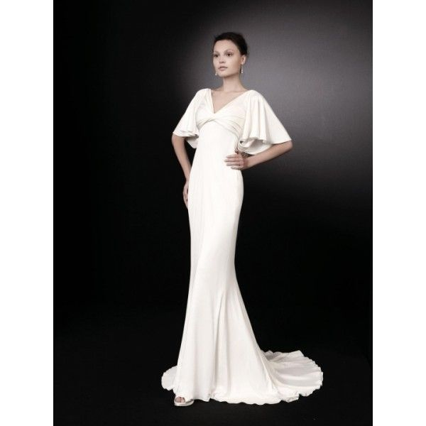 Vintage Sheath Butterfly Sleeves Satin Wedding Dress