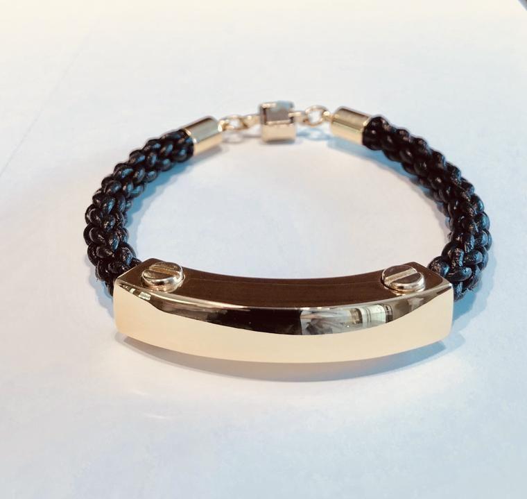 Mens Metal and Leather ID Bracelet GOLD Hair Tie Bracelet deeb40bff3b